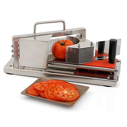 Zelsius Edelstahl Tomatenschneider 4 mm Scheiben Gemüseschneider Obstschneider 13 extra scharfe Wellenschliffmesser Profi Gastro Gemüsehobel mit Schlitten und Gummifüße für Tomaten Obst Gemüse