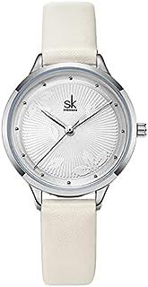 ساعة بحزام ساعة صيفية، ساعة كوارتز بطراز سيدة ذهبي وردي (اللون: أبيض)