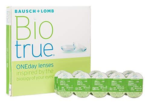 Bausch und Lomb Biotrue ONEday Tageslinsen, sphärische Kontaktlinsen, weich, 90 Stück BC 8.6 mm / DIA 14.2 / -2.5 Dioptrien