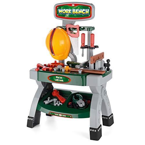 Toyrific- Toyrfic Banco da Lavoro, Kit di Attrezzi da Gioco per Bambini, Set di 40 Pezzi, Colore Verde, H70 44 x D29 Packsize: H 66 x W 34 x D9 cm, TY5312