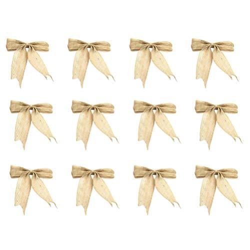 VOSAREA - 12 lazos de Navidad, arpillera rústica, yute, lazos, adornos para árbol de Navidad, adornos para Navidad, decoración de mesa