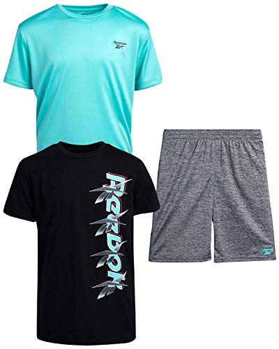 Reebok Boys 3-Piece Athletic Active Sports Tee-Shirt and Short Set, (Size 5, Black/Green/Grey)