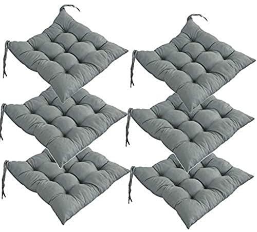 RR&LL Cojines de silla de color sólido, cinturones gruesos antideslizantes suaves y cómodos cojines, cojines de terraza interior/exterior, cojines de asiento (6 piezas)