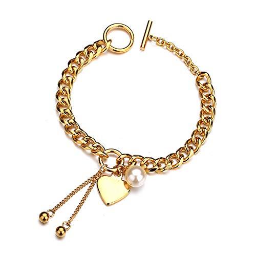 wonCacrostrans Frauen Armband, Boho Faux Perle Herz Quaste und Bälle Armband Mädchen Dicke Gliederkette Armreif Golden