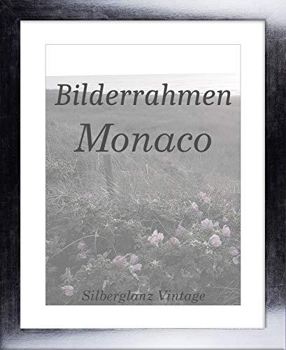 Homedeco-24 Monaco MDF Bilderrahmen ohne Rundungen 20 x 40 cm Größe wählbar 40 x 20 cm Silberglanz Vintage mit Acrylglas Antireflex 1 mm