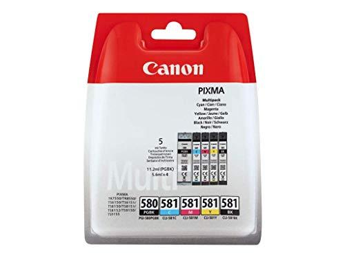 Canon PGI-580+CLI-581 Cartuchos Multipack de tinta original Cian/Magenta/Amarillo/PGBK para impresora de inyeccion de tinta PIXMA TS9150, TS6151, TS9155, TS6150, TS8151, TR8550, TR7550, TS8150, TS8152
