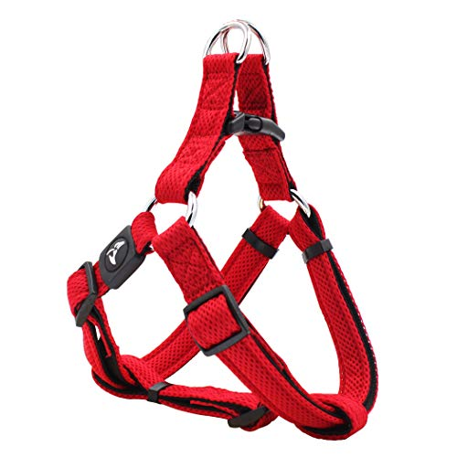 KRUZ PET KZA201-14M Step in Mesh Dog Harness, No Pull, Easy Walk, Quick Fit, Comfortable, Adjustable Pet Harnesses for Walking, Training, Small, Medium, Large Dogs - Red - Medium