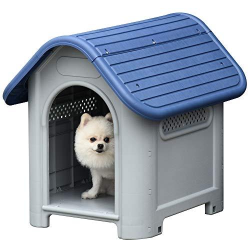 Pawhut Cuccia per Cani di Taglia Piccola, Carlino, Chihuahua, Casetta da Esterno e da Interno Grigia e Blu, 59x75x66cm