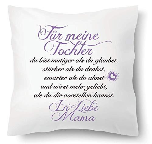 Farbwuselei Kissen mit Spruch Für Meine Tochter in Liebe Mama Flieder Kissenhülle Inlay Kissenbezug Geschenk