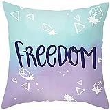 Beydodo Cojines para Sofa Freedom Triángulo y Hojas,Juego Funda Cojin 45 x 45 Fundas Decorativas Cojines para Sofás Azul Púrpura