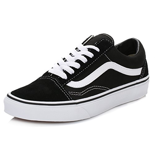 Vans Old Skool Leather Sneaker Unisex Adulto, Nero (Black/White), 42