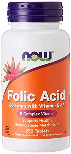 NOW Acido Fólico + B12, 250 tabletas