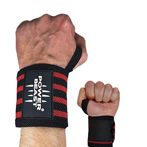 Power Beast Muñequeras Crossfit | Wrist Wraps Elásticas para Pesas, Gym, Fitness, Calistenia, Musculación, Halterofilia | Muñequera Deporte para Hombre y Mujer | 1 Par, Talla única, Longitud: 56 cm