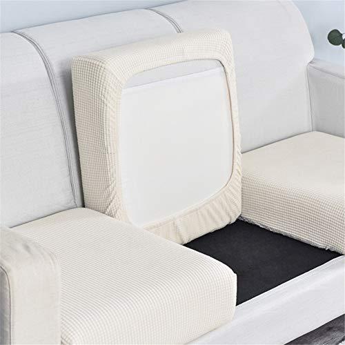 Sofa Sitzkissenbezug, Sofa Sitzkissenbezug Stretch, Elastischer Kissenbezüge, Husse Überzug Bezug Für Sofa Sitzkissen, rutschfest Stoff Tartan (Weiß,3-Sitzer)