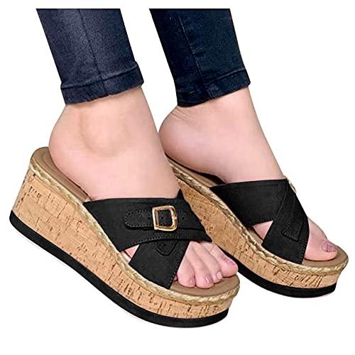 Beudylihy Sandalias de mujer de verano, con cuñas, plataformas, de moda, sandalias de piso, sandalias romanas, sandalias de playa, color Negro, talla 39 EU