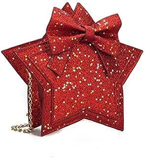 Fashion Single-Shoulder Bags Fashion Princess Bag Sequins Star Messenger Bag Girls Purse Cute Children Luxury Glittering Package(Sky Blue) (Color : Red)