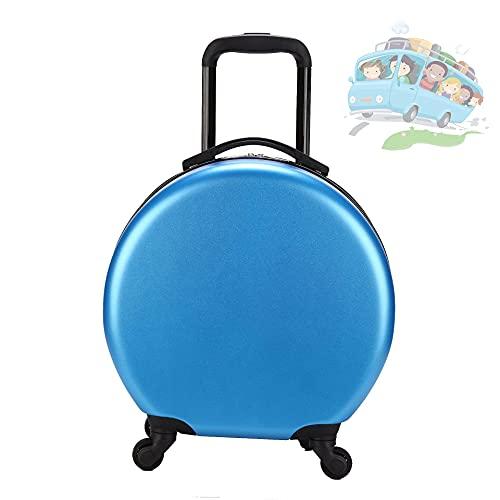 QIXIAOCYB Maleta redonda para niños ABS resistente al desgaste y compresiva, equipaje de mano con rueda universal de 360 ° de alta capacidad, regalos para niños y niñas de edad amarillo (color: azul)