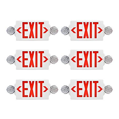 AKT LIGHTING Emergency Exit Light, Adjustable Two LED Head Exit Sign Light, Commercial Emergency Exit Lighting Combo with Back-up Battery for Business UL Certificated(Red, 6 Pack)
