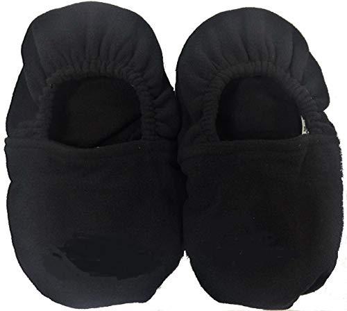 Zapatillas de casa calentables en microondas. Zapatillas Unisex relajantes rellenas de Semillas. Varias Tallas y Colores. (Grande, Negro)