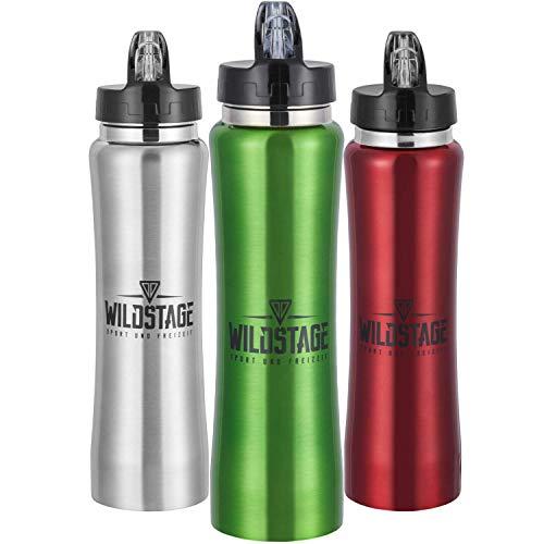 WildStage Trinkflasche Edelstahl 500ml Doppelwandig   Wasserflasche auslaufsicher   Metall Flasche BPA frei   Isolier Sportflasche   Fahrradflasche für Kinder, Fitness, Sport, Büro, Schule in grün
