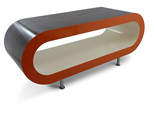 Zespoke Large Retro High Gloss Stripey Walnut with High Gloss Orange Sides and High Gloss Cream Inner 110cm Hoop Coffee Table/TV Stand with Legs