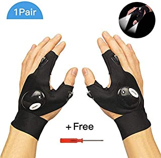 Chialstar LED Flashlight Gloves with Stretchy Strap Screwdriver Great for Outdoor Camping, Fishing, Running and Working in Darkness - Big Size Popular in American Markets (1Pair)
