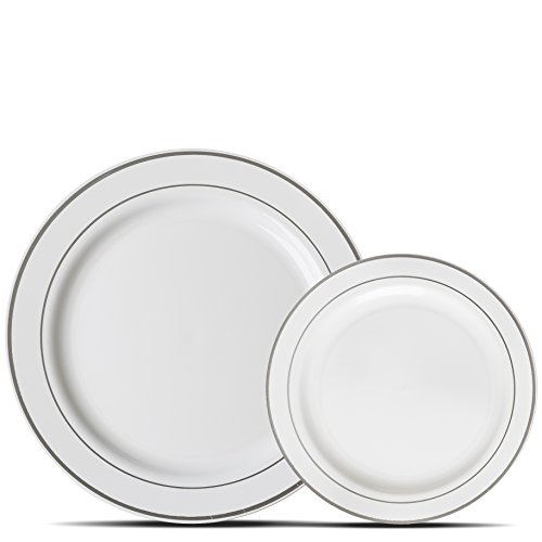 Premium 60 Pack White with Silver Rim Plastic Plates - Includes 30 Dinner Plates and 30 Salad Plates by Alpha & Sigma