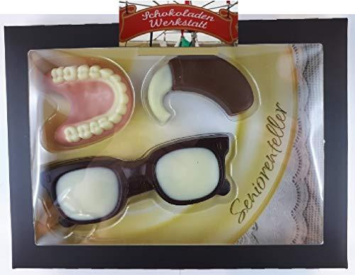 02#100221 Schokolade Senioren Set, Seniorenteller, Gebiss, Zahn, Prothese, Geburtstag, Vatertag, Tortenverzierung, se, Hörgerät