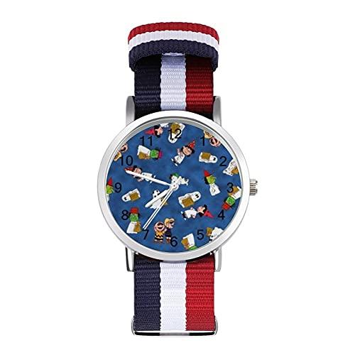 Snoopy - Reloj de ocio para adultos con trenza de escala ajustable y elegante espejo de cristal de 1.6 pulgadas para hombres y mujeres