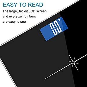Extra-Wide/Ultra-Thick Digital Body Weight Bathroom Scale with Body Tape Measure from NUTRI FIT, Step-on Technology,400 Pounds,Large Easy Read Backlit LCD Display Black