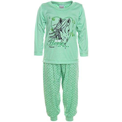 Mädchen 2tlg. Langer Schlafanzug in Grün, Gr. 116/122, M189