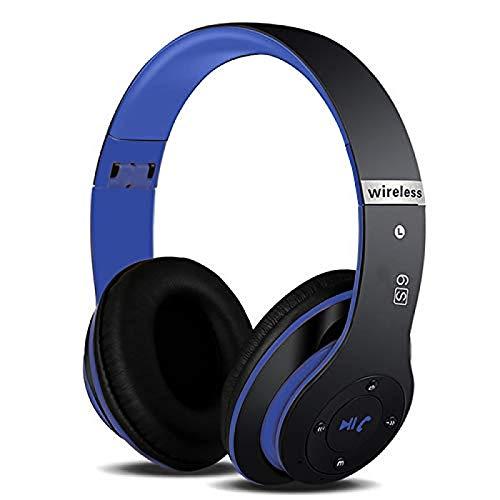Auriculares de música inalámbrica Bluetooth Bass HiFi Auriculares portátiles Plegables 3D con Soporte de micrófono SD Tarjeta Manos Libres Llamada Blue