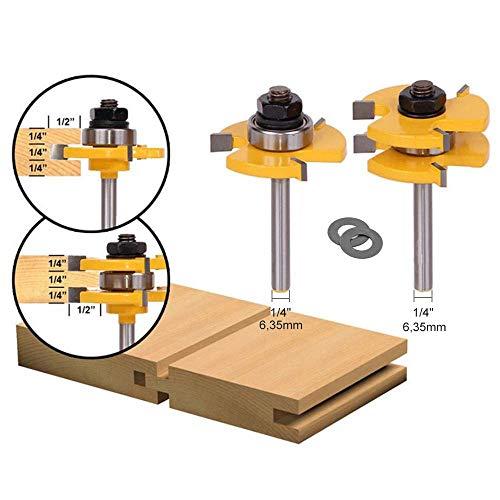 APLUS 2 teilig Groove und Tongue Zunge und Nut Set Router Bit Set Oberfräser Holzbearbeitung Fräsen Holzschneider Werkzeug für Graviermaschine Trimmmaschine (Ø = 1/4\'\' = 6,35mm)