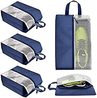 ALINK 4 Pcs Travel Storage Shoe Bags for Men Women Accessories Cloth Pouch with Clear Window