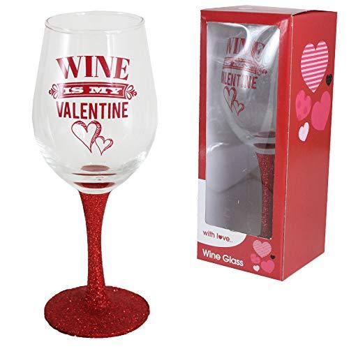 Copa de vino para el día de San Valentín con tallo rojo...