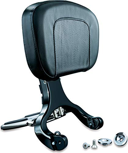 Kuryakyn 1661 Multi-Purpose Driver/Passenger Seat Backrest with Folding Luggage Rack System for Harley-Davidson and Indian Motorcycles, Black/Chrome