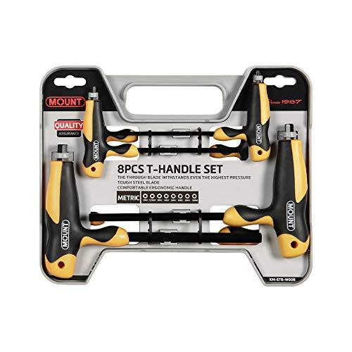 Juego de 8 llaves Torx con mango ergonómico en T, acero de aleación CR-V, Kit de herramientas portátil de fácil almacenamiento, útil para el mantenimiento casero y reparación de vehículos, T9-T40