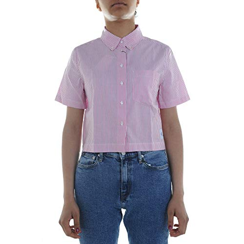 Calvin Klein Jeans Cropped SS Oxford Camisa de Mujer J20J210428 902 Bright White Pink Stripes