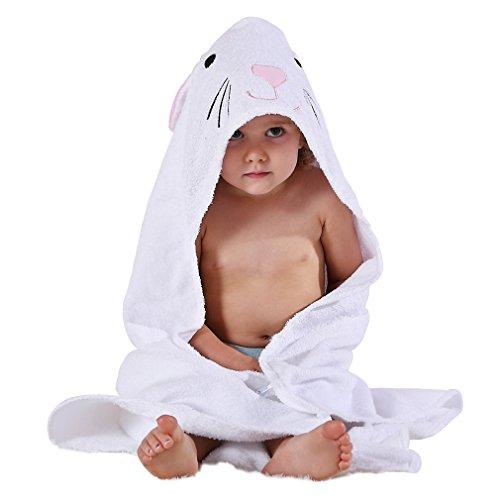 MICHLEY Niños Encapuchado Bebé Toalla de baño Animal Sin mangas Algodón Albornoz Para Niños Niñas 0-6 Años(Blanco)