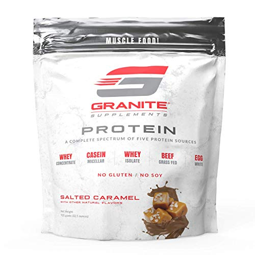 Protein Powder by Granite | 30 Serving of Complete Spectrum Protein to Build Lean Muscle | 5 Protein Sources: Whey Concentrate, Micellar Casein, Isolate, Grass Fed Beef, Egg White | 2lb Salted Caramel