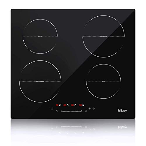 23 Inch Induction Cooker,IsEasy Touch Control Built-in Countertop Burners with Safety Lock, Tempered Glass Cooktop with 4 burner,9 Heating Level, Luxury Black