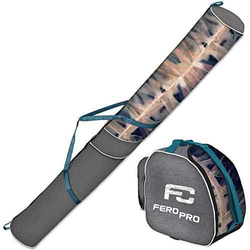 Ferocity Premium Set Skitasche und Skischuhtasche für 1 Paar Ski-Stöcke-Schuhe-Helm Len-Needle [053]