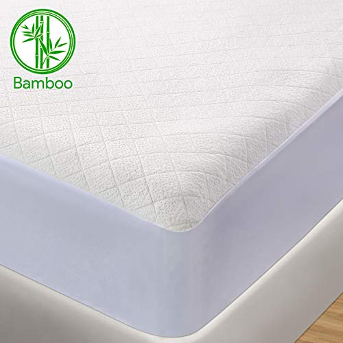BedStory Bamboo Waterproof Mattress Protector Double,Hypoallergenic Cotton Mattress Cover, Against Bed Bugs, Dust Mite, None Odor Bed Mattress protector 140x200cm