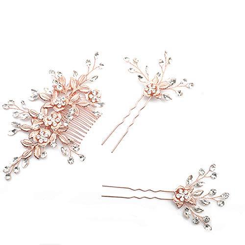 deniferymakeup Hochzeit Rose Gold Strass Perlen Blume und Blatt Haarkamm Brautschmuck