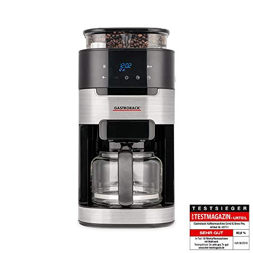 Gastroback 42711 Kaffeemaschine Grind & Brew Pro, Filterkaffeemaschine mit integriertem Mahlwerk, Kegelmahlwerk mit 8 Mahlstufen, Soft-Touch LCD-Display, Glasskanne, 12 Cups, Schwarz/Edelstahl