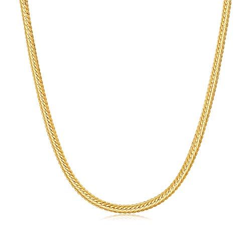 WINNICACA Italy Necklace for Men 24k Gold Plated Cuban Hip Hop Curb Chain Nkeclace for Women Cheap Fashion Jewellery Birthday Christmas Friendship Gifts 24inches,4mm Wide Unisex