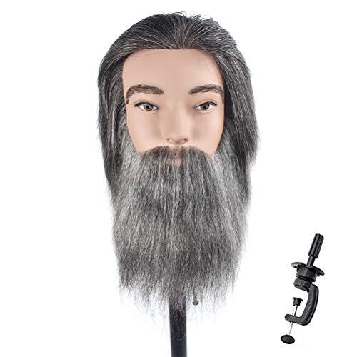 Cabeza de maniquí masculino, cabello 100% humano, con barba, belleza, cabeza de muñeca de entrenamiento de peluquería, con clip gratis
