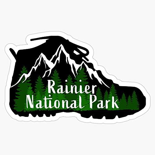 "JB Print Mount Rainier National Park Mt. Washington Wa Hiking Hike Outdoors Camping Camp Boot Gift Ideas Vinyl Decal Sticker Car Waterproof Car Decal Bumper Sticker 5"""