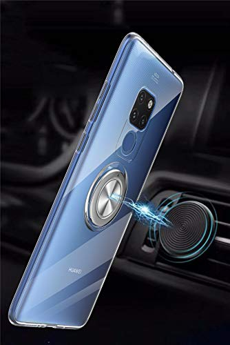 Kompatibel mit Huawei Mate 20 Lite Hülle Huawei Mate 20 Pro Silikon-Weiche Handyhülle Stoßfest Kickstand 360 Grad Handy Backcover Magnetische Autohalterung Anti-Rutsch Schutz (Durchsicht, Mate 20 Pro) - 3