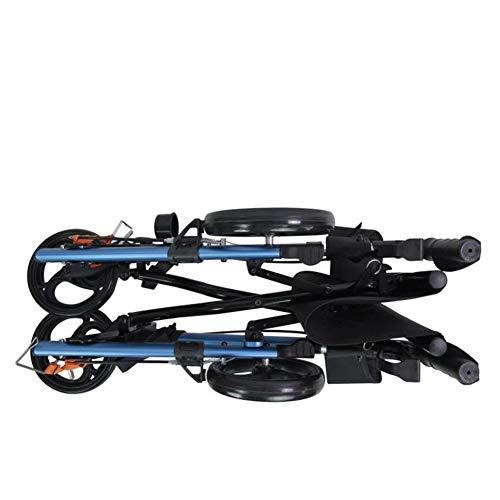 FF Duwen langs Walker Mobility Rollators 4 Wiel Met Zitting, Stander EZ Fold-N-Go Lichtgewicht Vouwen Walker Met Gevoerde Stoel, Ergonomisch Handvat En Draagtas